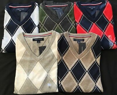 Tommy Hilfiger Mens Sweater Argyle Pullover V-neck Diamond Pattern Knit NWTs (Argyle Pattern Sweater)