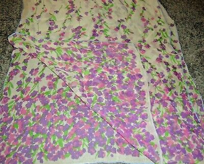 Vintage Scarf Styles -1920s to 1960s Vintage Silky Scarf Wrap Mask Lightweight-Sheer-Multi-Color Floral  40