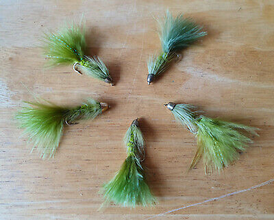 Woolly Bugger 12 Assorted Flies Black White Olive Brown  Sizes 8 10 12  F796A