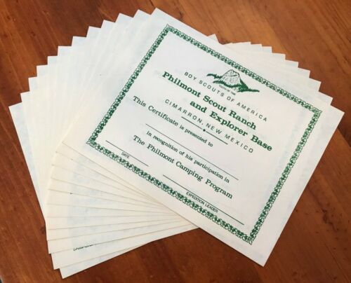 Vintage Philmont Scout Ranch Camping Participation Certificate Lot of 12 -Unused