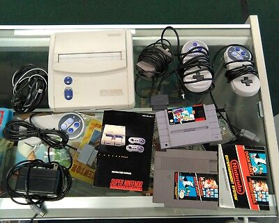 Super Nintendo Entertainment System Video Game Console W  Games Lot Controllers