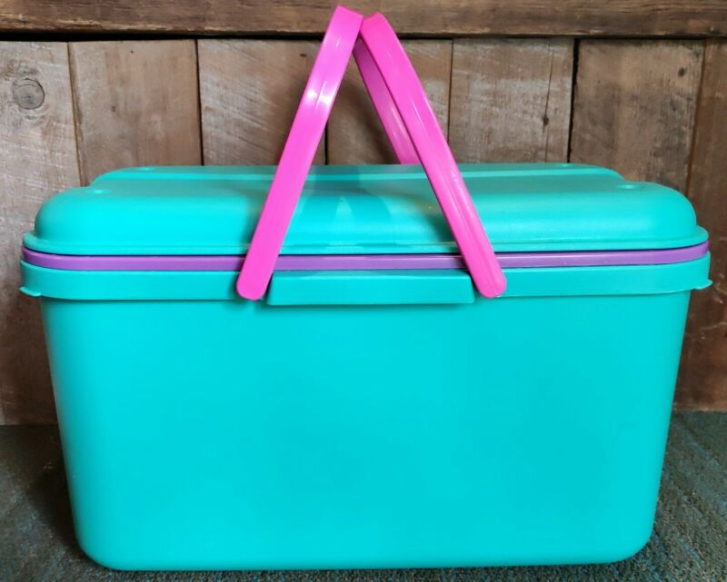Eagle CraftStor Vintage Teal Plastic Craft Sewing Storage Tote Made In USA