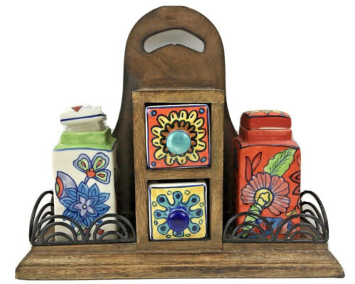 Colorful Talavera Style Wind & Weather Spice Bottle Chest / Rack Wood w/ Ceramic