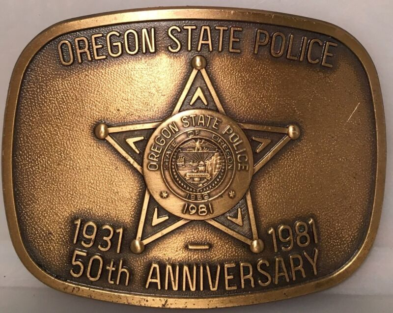 Rare Vintage Oregon State Police 50th Anniversary Brass Belt Buckle