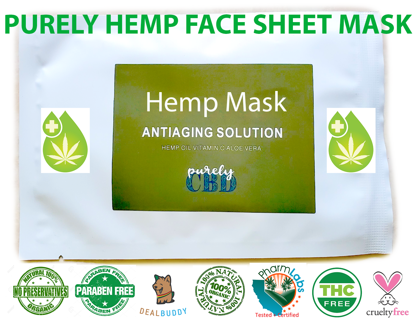Pure Organic Hemp Seed Oil Face Sheet Mask For Wrinkle
