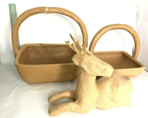 Paper Mache Used Damaged  Unfinished Lot of 3 Baskets + Deer Lot of 3 as Is
