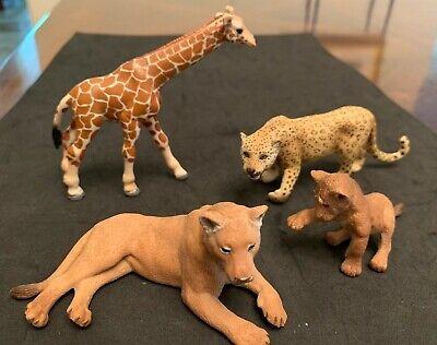 SCHLEICH SAFARI LOT OF 4, Lioness and Cub, Cheetah Female, Giraffe Calf, LIKE N