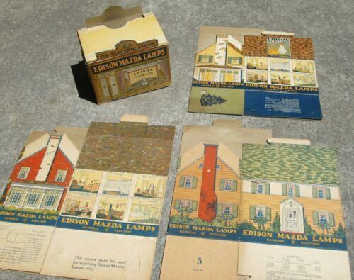 Set of (4) EDISON MAZDA Advertising Cardboard Houses & Store, 1928
