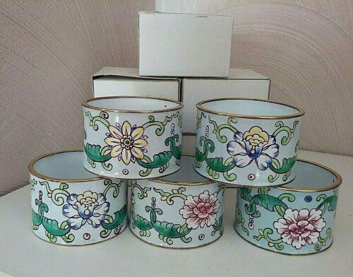 NOS Enamel Brass Napkin Rings White Band Floral Set of 8 ~ Pretty