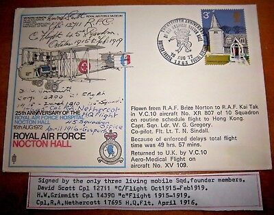 UNIQUE - RAF NOCTON HALL COVER SIGNED BY 3 LIVING MOBILE SQD FOUNDER MEMBERS