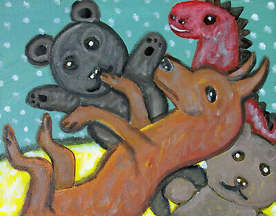 MINIATURE PINSCHER Getting Comfy Stuffed Animals Art Print 8x10 Dog Collectible Miniature Pinscher Art
