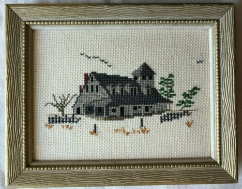 """Framed Completed Cross Stitch Country House 9-1/2"""" x 7-1/2"""""""