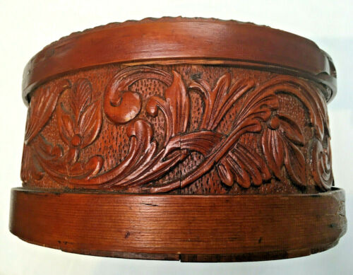 19th C. Norwegian Acanthus-Carved Wood Container, Stave and Band Construction