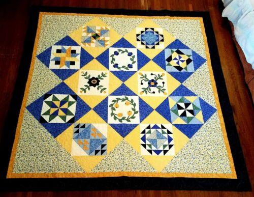 Century Quilt Patchwork & Applique 84x84 Full/Queen Yellow & Blue Flowers Joann
