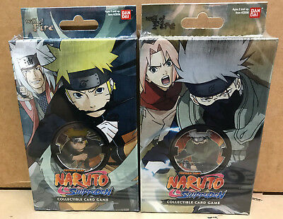 Naruto TCG CCG Shippuden Will of Fire Set of 2 Starter Decks Factory Sealed -