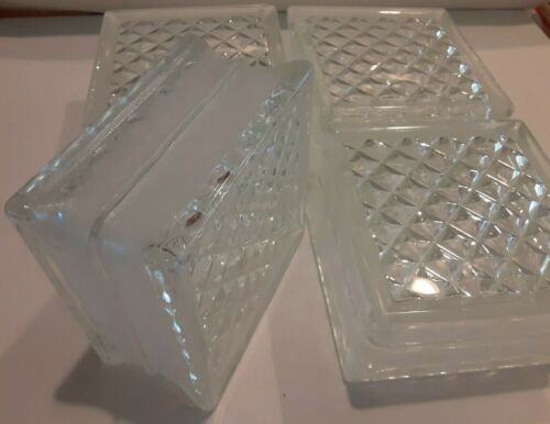 4 Pittsburgh Corning Glass Blocks, DELPHI Diamond Pattern, NOS, USA MADE, 6x6x3