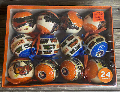 Lionel Train Christmas Tree Ornament 2013 Orange Blue Globe Train Scene 24 Set