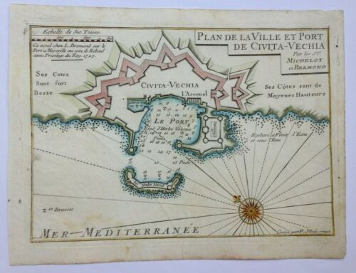 ITALY CIVITAVECCHIA 1727 MICHELOT & BREMOND NICE ANTIQUE ENGRAVED SEA CHART