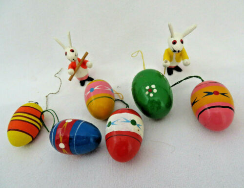 Vintage 8 Pc. Lot ~ 6 Hand Painted Miniature Easter Egg Ornaments & 2 Bunnies