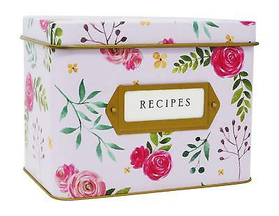 Jot & Mark Decorative Floral Recipe Card Box Tin | Holds Hundreds of 4x6 Cards ()