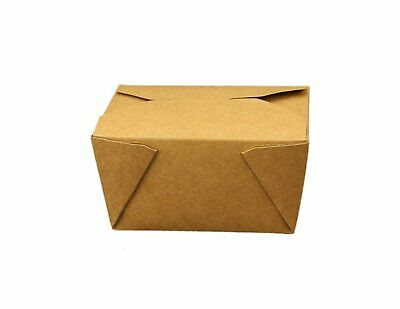 Take Out Containers Easy Fold & Close (Pack of 50) Box #1 Kraft Paper with...