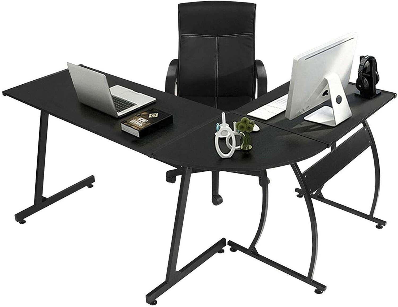 GreenForest L-Shaped Corner Desk Computer Gaming Desk PC Tab