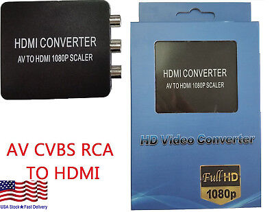 RCA to HDMI Converter Composite 720/1080p AV CVBS Video Adapter for Wii NES SNES