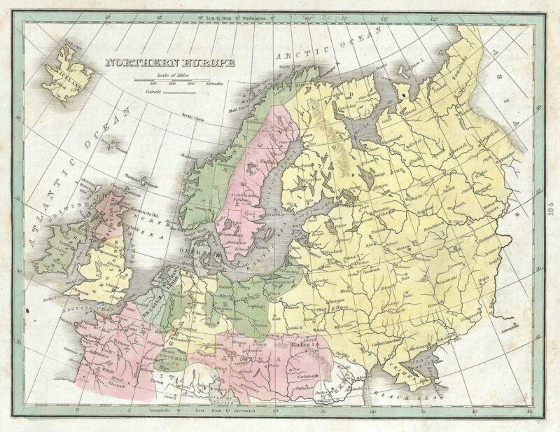 1835 Bradford Map of Northern Europe