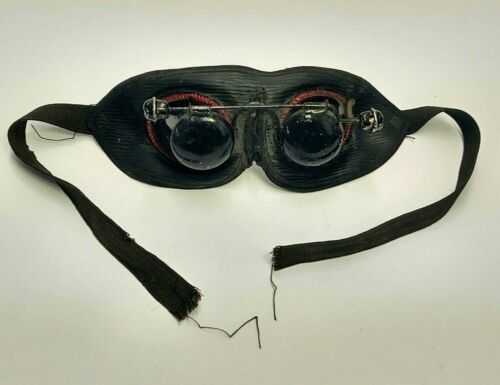 MASONIC FRATERNAL LODGE INDUCTION HOODWINK GOGGLES METAL LEATHER CLOTH RED BLACK