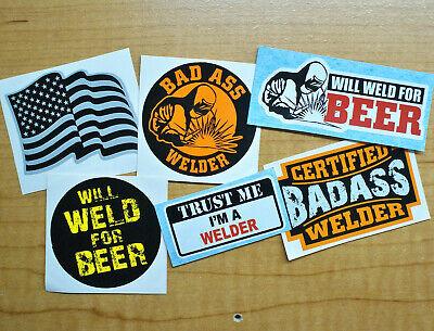 6x Funny Welder Stickers Welding Helmet Hard Hat Decals Beer Badass American