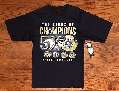 Nfl Football Mens Ring (NWT Dallas Cowboys Football NFL The Rings Of Champions 5X T-Shirt Men's Small )