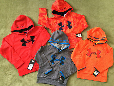 NWT Under Armour Boys' Logo Hoodie Pull Over Zip Up 2 Piece Set New Sz 24M 4 5