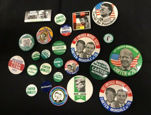Jimmy Carter + Mondale Political Campaign Presidential PiN Button  JH938