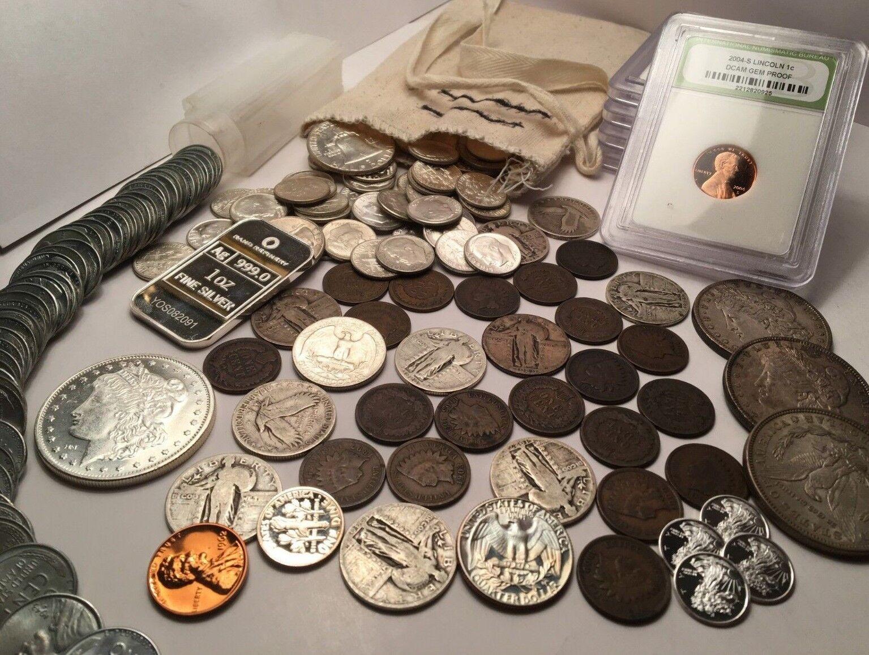 OLD US COIN COLLECTION 1800'S COINS, BU 90% SILVER COINS, .999 SILVER 60+ COINS