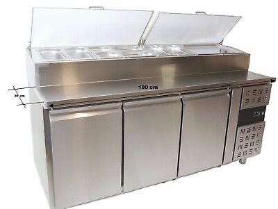 Brötchen Belegstation 1800 x700mm 9 x 1/3 GN 150 Pizzakühlschrank Pizzasaladette