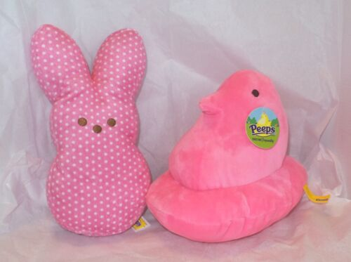 "Set of 2 Just Born Peeps Pink Polka Dot Rabbit 9"" & Pink Rabbit 9"" NWT"