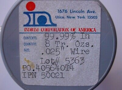 Indium Wire 99.99 Pure 0.025 Dia 3 Length Made By Indium Corp Of America In