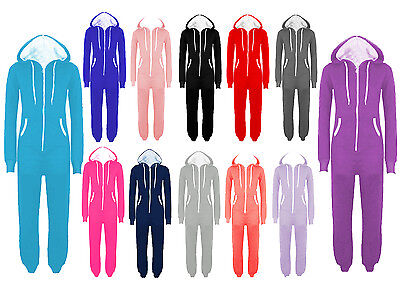 PLUS SIZE UNISEX PLAIN ONE PIECE HOODED ALL IN ONE ZIP ONESIE HOODIE JUMPSUIT (Plus Size Onesies)