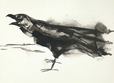 Original signed Ink sketch painting of a Black Crow A4