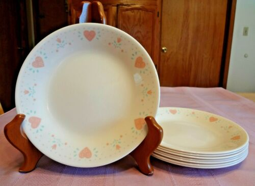 8 Corelle FOREVER YOURS BREAD PLATES Salad DESSERT Corning PINK HEARTS Dishes