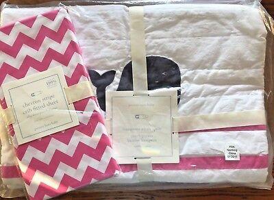 Pottery Barn Baby 2 Pc Nursery Crib Bedding Hamptons Whale Quilt & Chevron Sheet