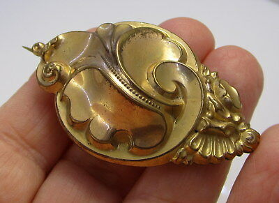 "Estate Vintage Antique Victorian Pinch Back Large ""C"" Clasp Swirl Motif Brooch"