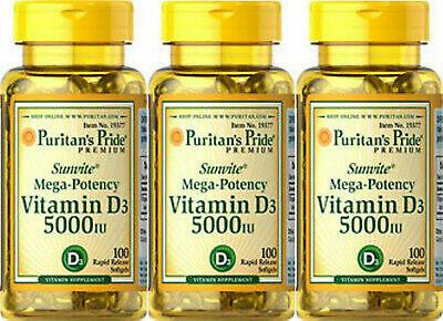 (3)Puritan's Pride Mega-Potency Vitamin D3 5000 IU/125mcg 300 total softgels