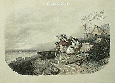 FORTUNE FEROGIO - Wartende Fischerfamilie - Tonlithografie & Pochoir 1844