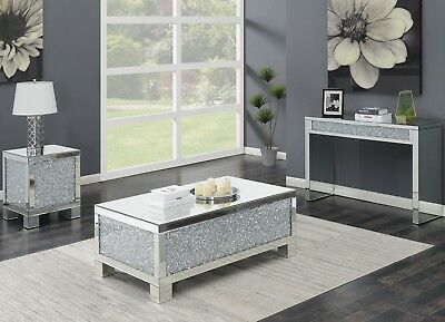 Modern Contemporary Mirrored Cocktail Sofa End Coffee Table Set Acrylic Crystal