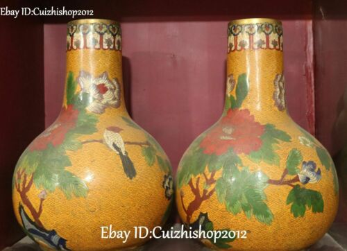 """17""""old Cloisonne Enamel 24k Gold Parrot Bird Animal Flower Vase Bottle Pot Pair"""