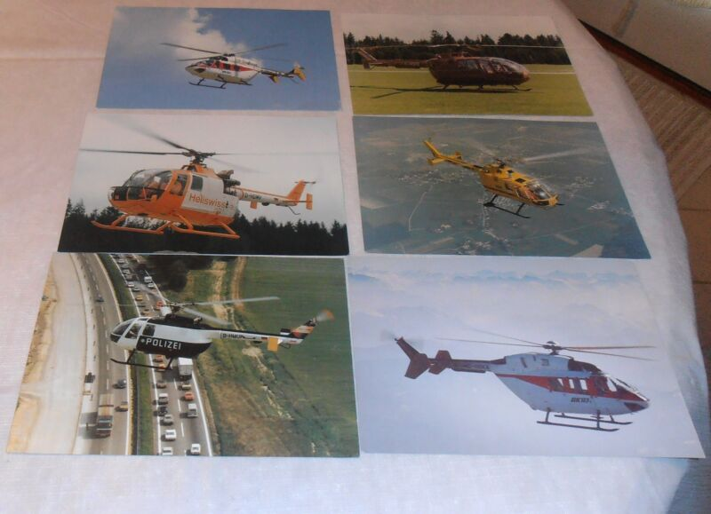 6- VINTAGE HELICOPTER PHOTO LOT