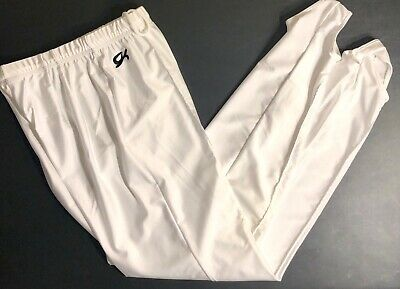 GK ELITE MENS LARGE WHITE GYMNASTICS COMPETITION NYLON STIRRUP PANTS AL NWT!