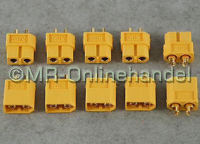 5 Paar ( 10 Stück ) Nylon XT60 Hochstrom Goldstecker Stecker + Buchse Lipo Akku