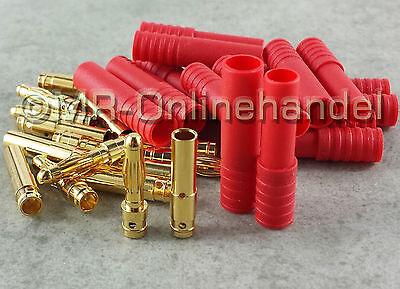 4 Stück Gehäuse (20 Stück 4mm HXT Gold Stecker Goldstecker + Buchsen + Gehäuse, bis 93A)